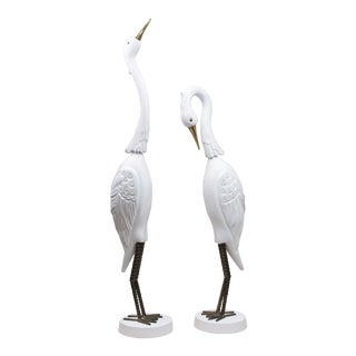 Pair of Carved and White Painted Tropical Egrets For Sale