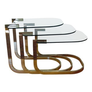 Mid Century Modern Design Institute America Polished Brass & Glass Nesting Tables - Set of 3 For Sale