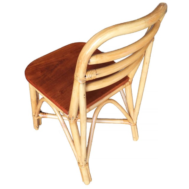 Mid-Century Modern Restored Mid Century Rattan Dining Side Chair With Mahogany Seat, Set of Six For Sale - Image 3 of 8