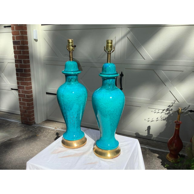 1970s Italian Mid-Century Modern Blue Lamps, a Pair For Sale - Image 5 of 13