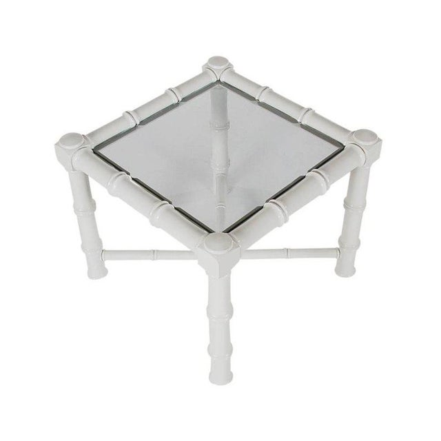 White Faux Bamboo Chinoiserie Tables - A Pair For Sale - Image 5 of 6