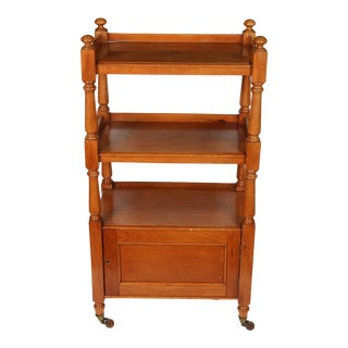 Antique English Oak Three Tier Etagere on Casters For Sale