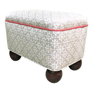 1980s Upholstered Ottoman With Oversize Wood Bun Feet For Sale