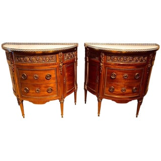 Pair of 19th Century Bronze Mounted French Demilune Commodes With Marble Tops For Sale