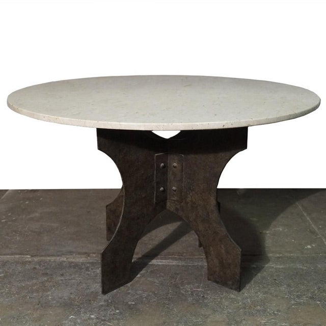 Metal Iron X-Base Dining Table For Sale - Image 7 of 7