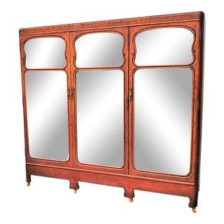 Antique American Solid Tiger Oak 3 Door Bookcase Cabinet For Sale