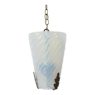 1930s Antique Textured Opaline Pendant Light For Sale
