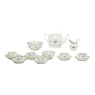 18th Century Pearlware Tea Set with Swan Finial For Sale