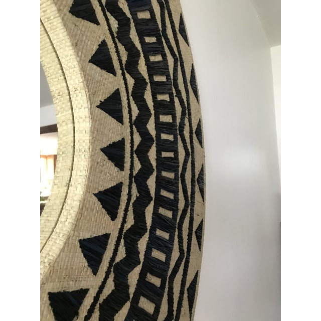 Abstract Tribal Chic Round Grasscloth Mirror For Sale - Image 3 of 6