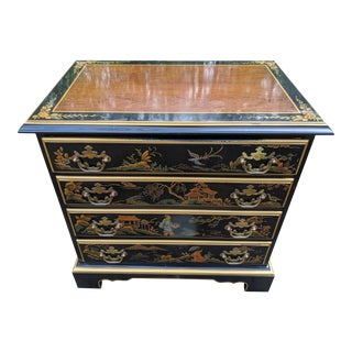 "1980s Drexel ""Et Cetera"" Asian Chinoiserie Black Lacquer 4-Drawer Cherry Lowboy Chest For Sale"
