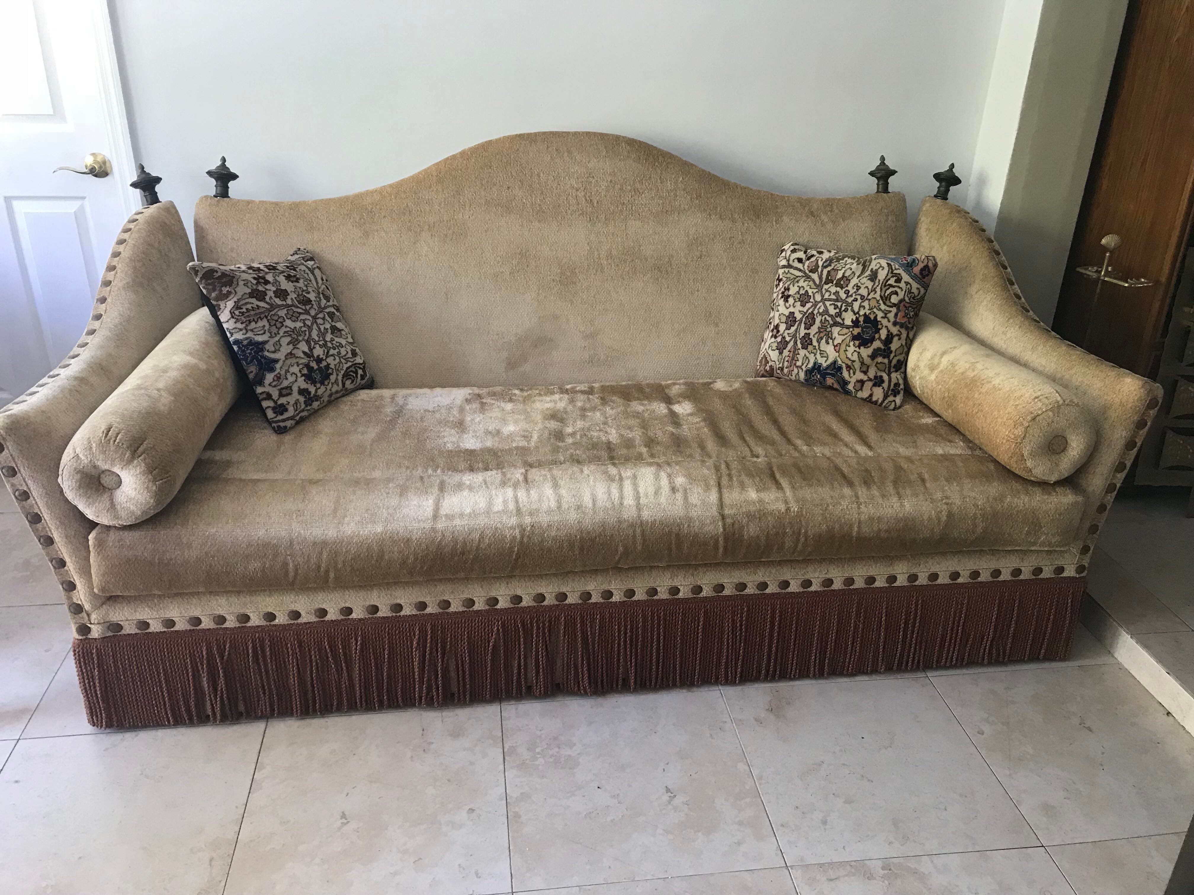 1960s 1960s Art Deco Moroccan Style Knole Tasseled Sofa For Sale   Image 5  Of 5