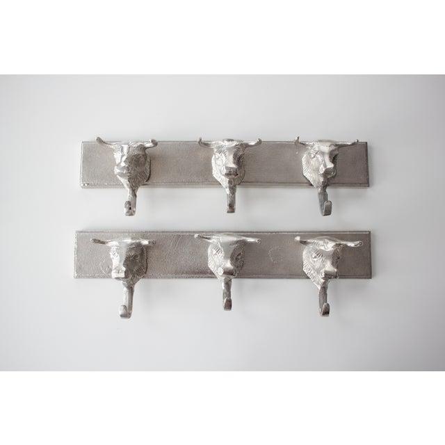 Aluminum Western Bull Head Coat Hooks - Pair - Image 2 of 4
