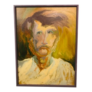 Mid Century Portrait Oil Painting by William Watts For Sale