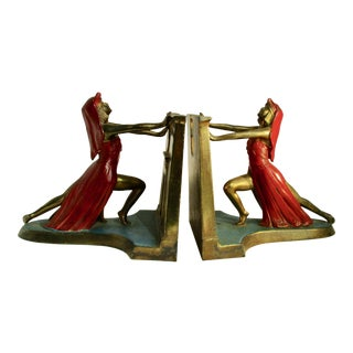 1924 L Moronson Egyptian Revival Polychrome Queen of the Nile Bookends - a Pair For Sale