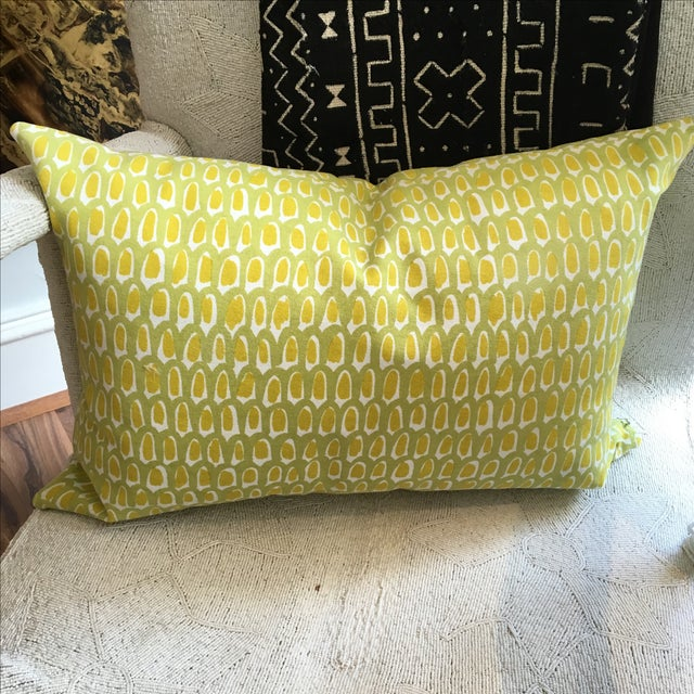 Green and Yellow Cotton Canvas Pillow - Image 4 of 6