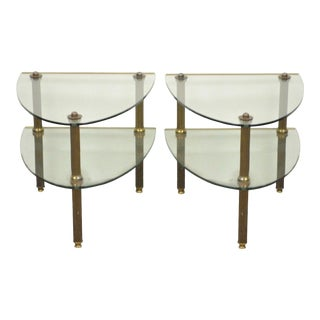 Pair of Vintage Hollywood Regency French Style Brass & Glass 2 Tier Side Tables