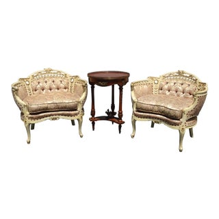 Pair of Vintage French Rococo Louis XVI Pink Tufted Ornate Accent Chairs For Sale