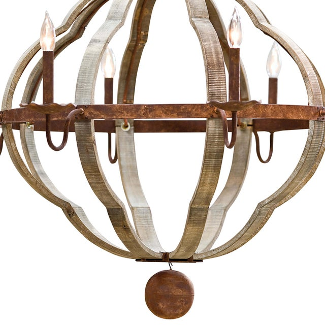 Wooden Quatrefoil Chandelier For Sale - Image 4 of 7