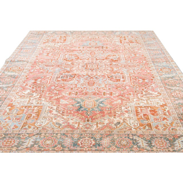 White Early 20th Century Antique Heriz Wool Rug For Sale - Image 8 of 11