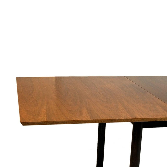 Edward Wormley for Dunbar Walnut Extension Dining Table W Leather Wrapped Feet For Sale - Image 9 of 10
