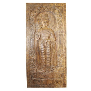1990s Vintage Hand Carved Buddha Wall Panel For Sale