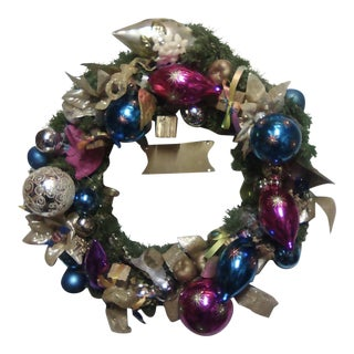 Murano Candy & Vintage Glass Ornament Wreath For Sale