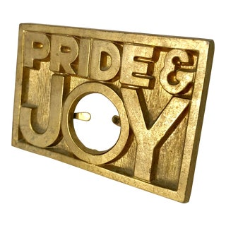 "Vintage Brass ""Pride and Joy"" Picture Frame For Sale"