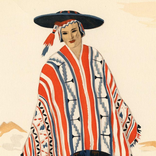 A colorful lithograph from an early 1940s folio of the costumes of the people native to pre-Columbian and post-conquest...