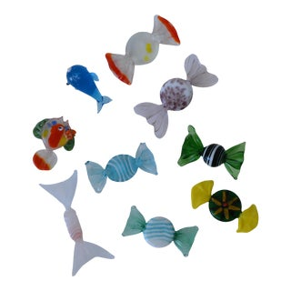 Murano Glass Candy and Fish - Set of 9 For Sale
