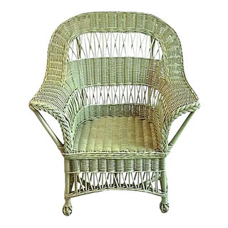 Vintage Cape Cod Style Green Wicker Armchair For Sale