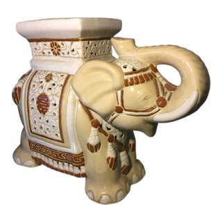 1990s Vintage Chinese Ceramic Elephant Decorative Statue For Sale