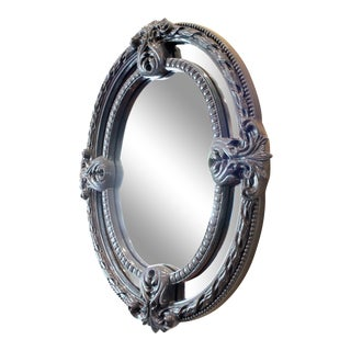 Hollywood Regency Navy Lacquered Mirror For Sale