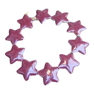 Massive Chunky Chocolate Brown Enamel Star Link Statement Necklace C 1980s For Sale