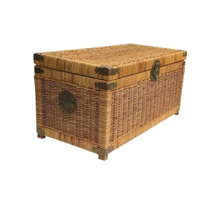 Mid Century Modern Rattan Trunk / Storage Blanket Chest Brass Chinese Hardware For Sale