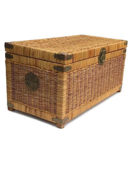 Mid Century Modern Rattan Trunk / Storage Blanket Chest Brass Chinese  Hardware