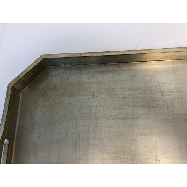 2000 - 2009 Italian Silver Leafed Wooden Tray For Sale - Image 5 of 9