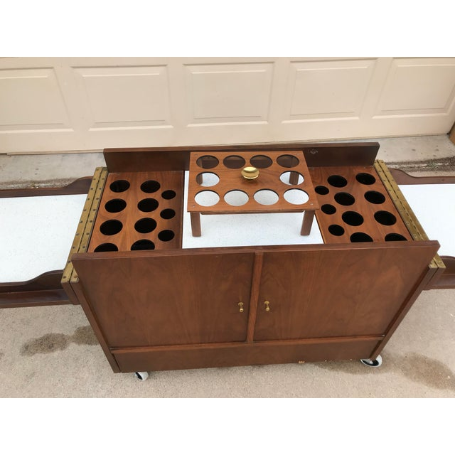 Gold Mid-Century Dry Bar With Fold Open Top + Glasses For Sale - Image 8 of 10