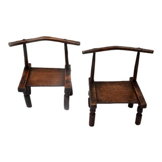 West African Senufo Carved Wood Chair Pair For Sale
