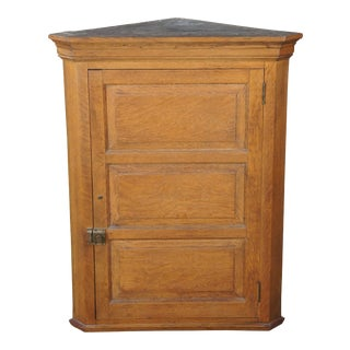 """Antique Early 20th C. Paneled Oak Hanging Corner Cabinet Cupboard Victorian 38"""" For Sale"""