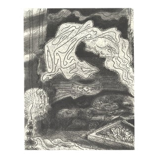 """Andre Masson Le Septieme Chant III 14.75"""" X 11"""" Etching 1974 Abstract Black & White For Sale"""