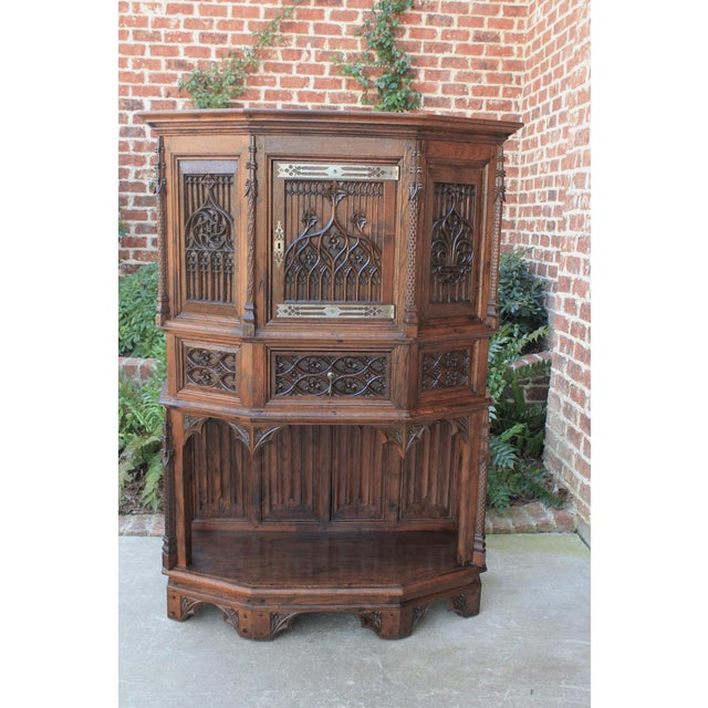 Wood Antique French Gothic Vestry Sacristy Cabinet Oak 19th Century For Sale - Image 7 of 13