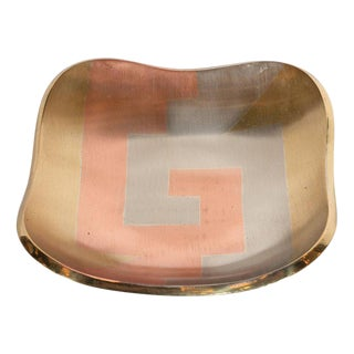 Mid-Century Modern Dish in Platinum, Copper and Gold Tones For Sale