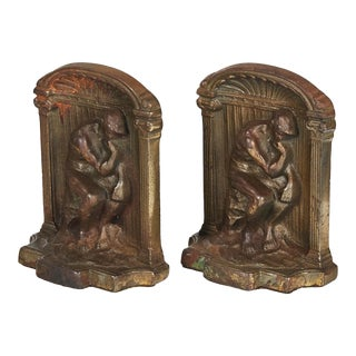 "1930s Metal ""The Thinker"" Bookends, Pair"