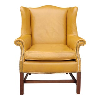 Vintage 1960's Loeblein Leather Wingback Chair For Sale