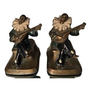 Pair of Antique Art Deco Harlequin Bookends - Pierrot For Sale