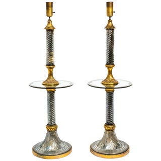 Pair of 1940s Murano Mirrored Floor Lamps For Sale