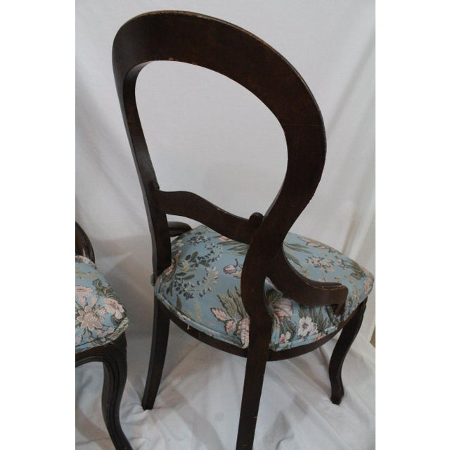 Edwardian Antique Blue Needlepoint Chairs - A Pair For Sale - Image 3 of 10