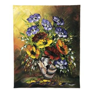 Original Impressionist Vivid Floral Painting For Sale