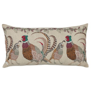 Americana Pheasant and Quail Lumbar Pillow For Sale