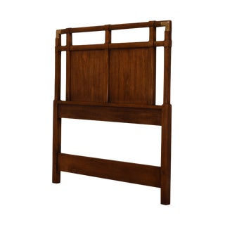 Drexel Accolade Collection Vintage Mahogany Campaign Style Twin Headboard For Sale